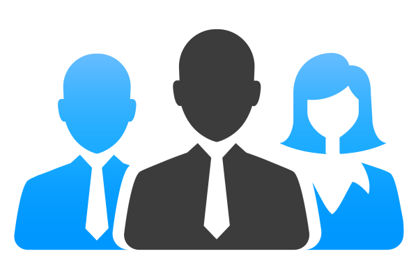 Icon with two blue business people standing either side behind grey front person