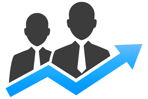 Cubiks' identifying potential talent tool icon of blue upward trajectory arrow in front of two grey business people