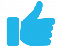 blue graphic of thumbs up